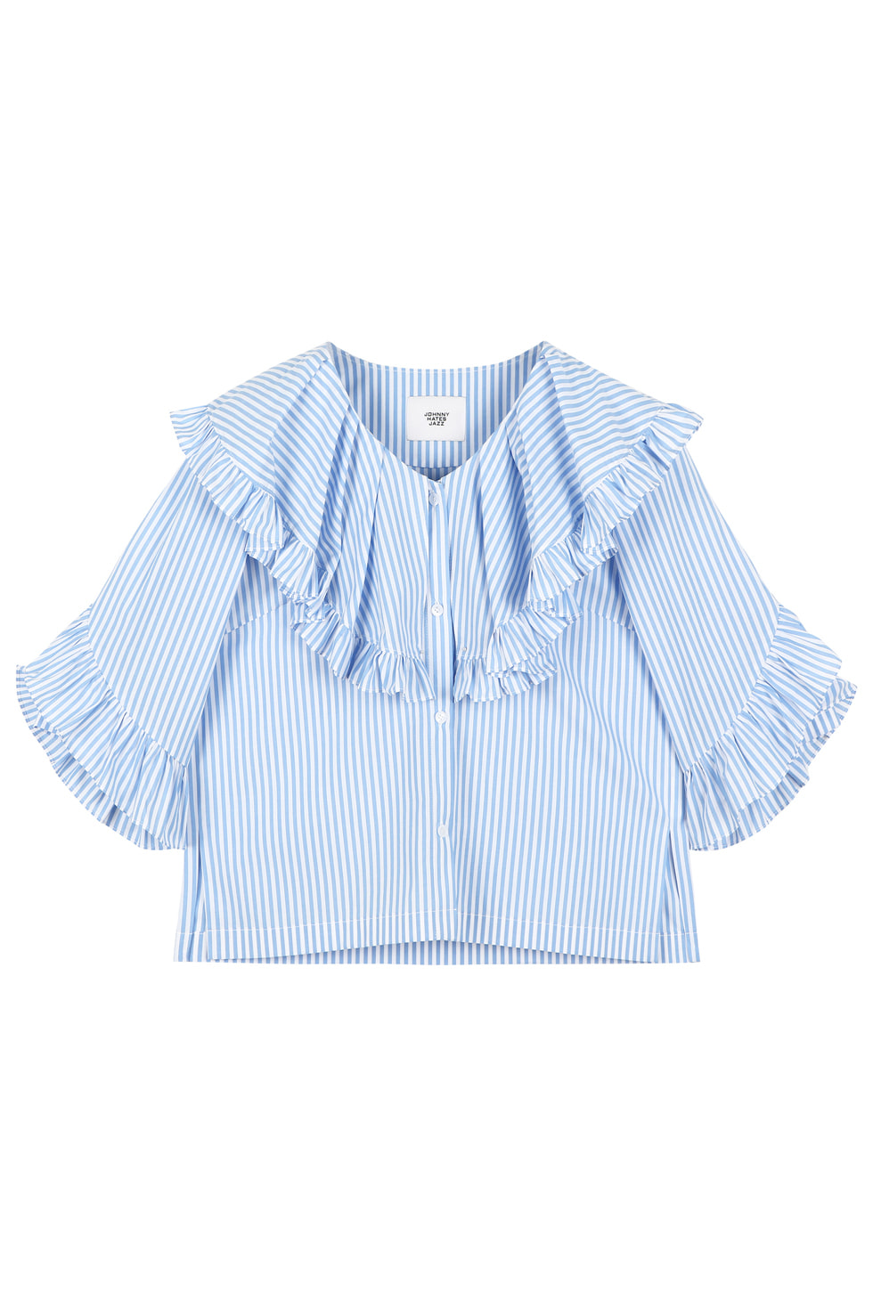 COTTON RUFFLE BLOUSE - BLUE