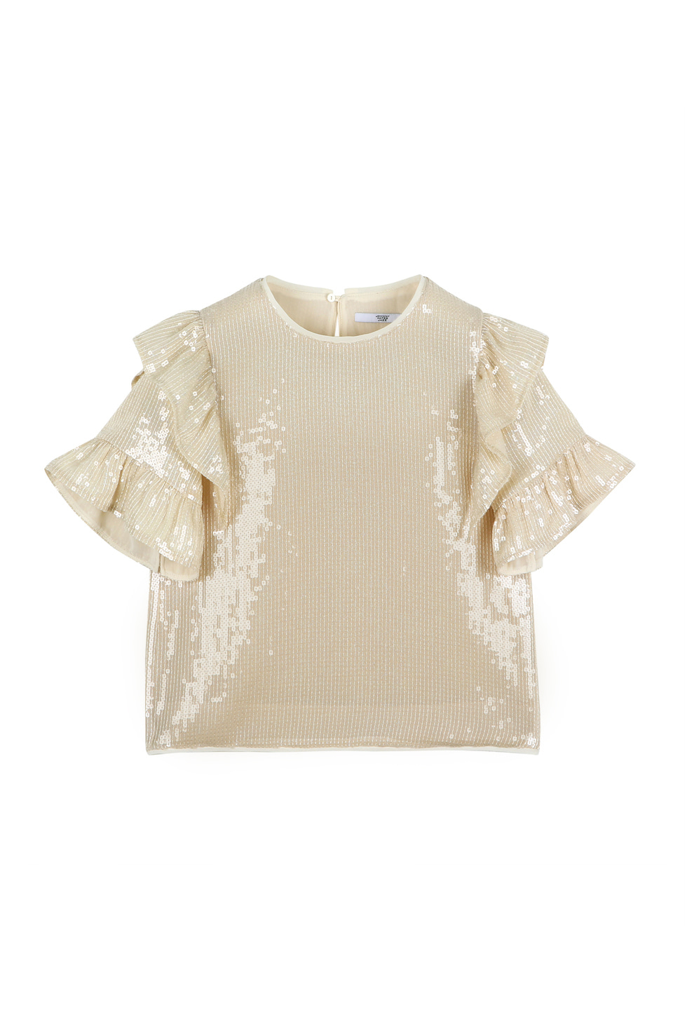 SEQUINED RUFFLE BLOUSE - IVORY