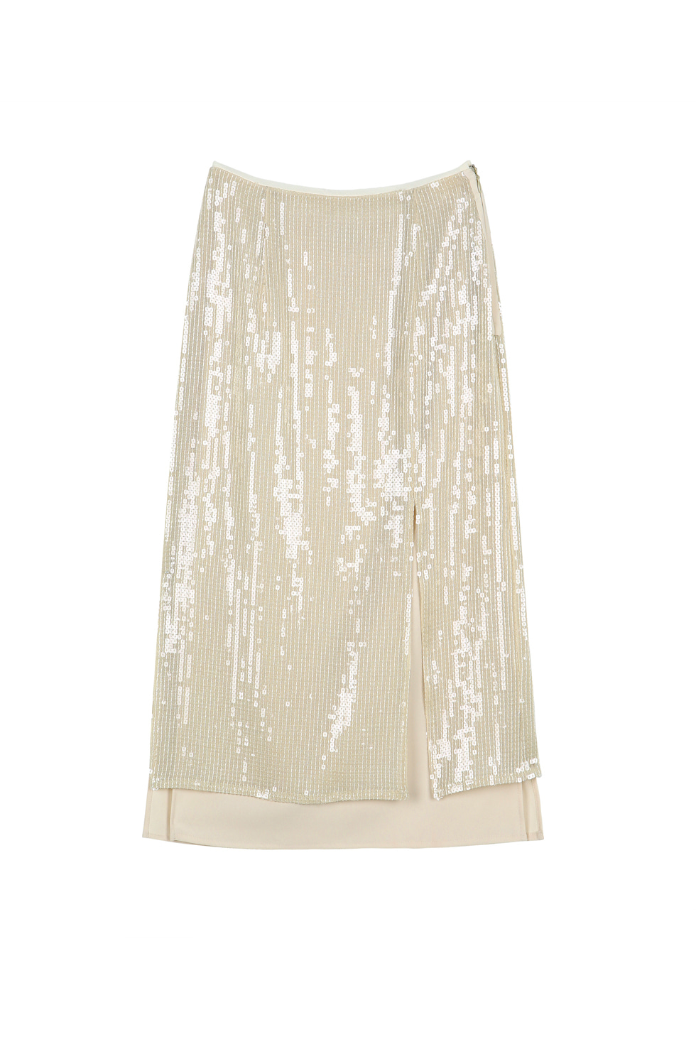 SEQUINED SLIT SKIRT - IVORY