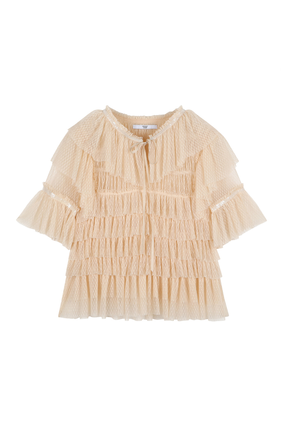 TULLED RUFFLE BLOUSE - BEIGE