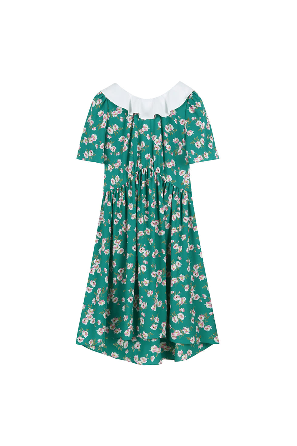 BACK RIBBON FLORAL DRESS - GREEN