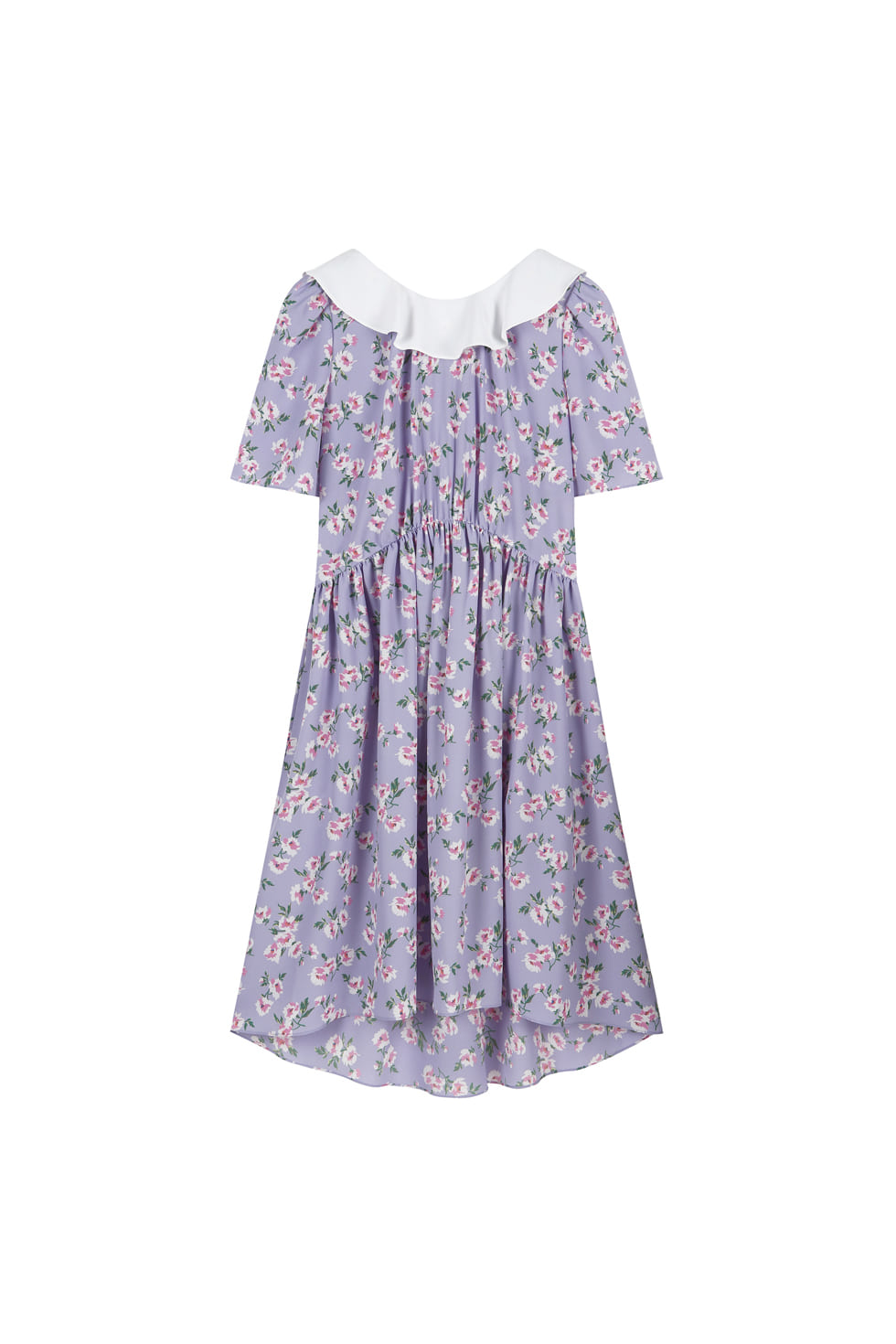 BACK RIBBON FLORAL DRESS - PURPLE