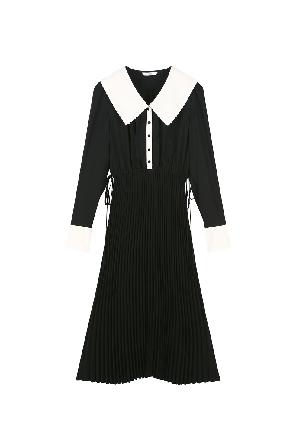 BIG COLLAR PLEATS DRESS - BLACK
