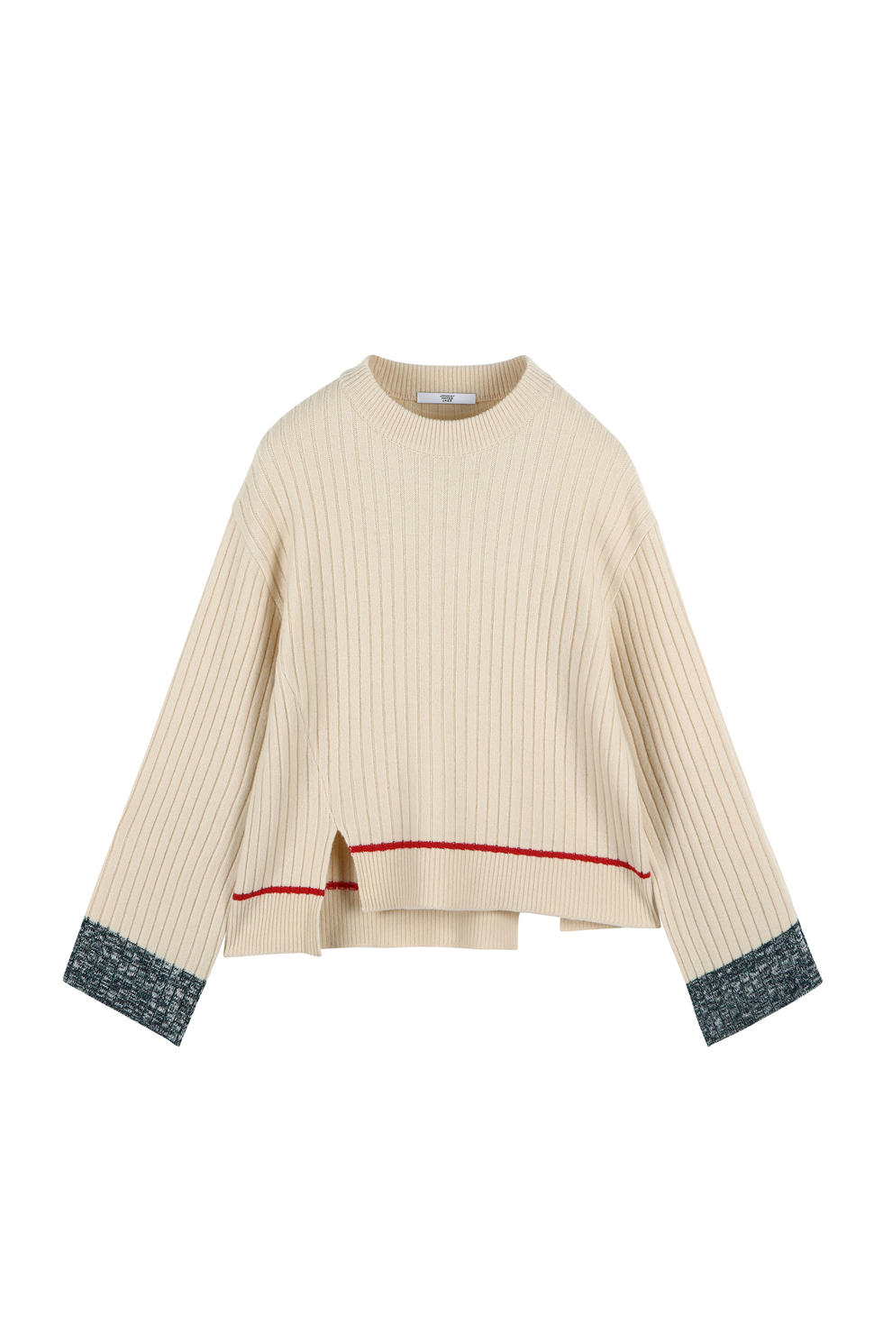 COLOR BLOCK KNIT PULLOVER - IVORY
