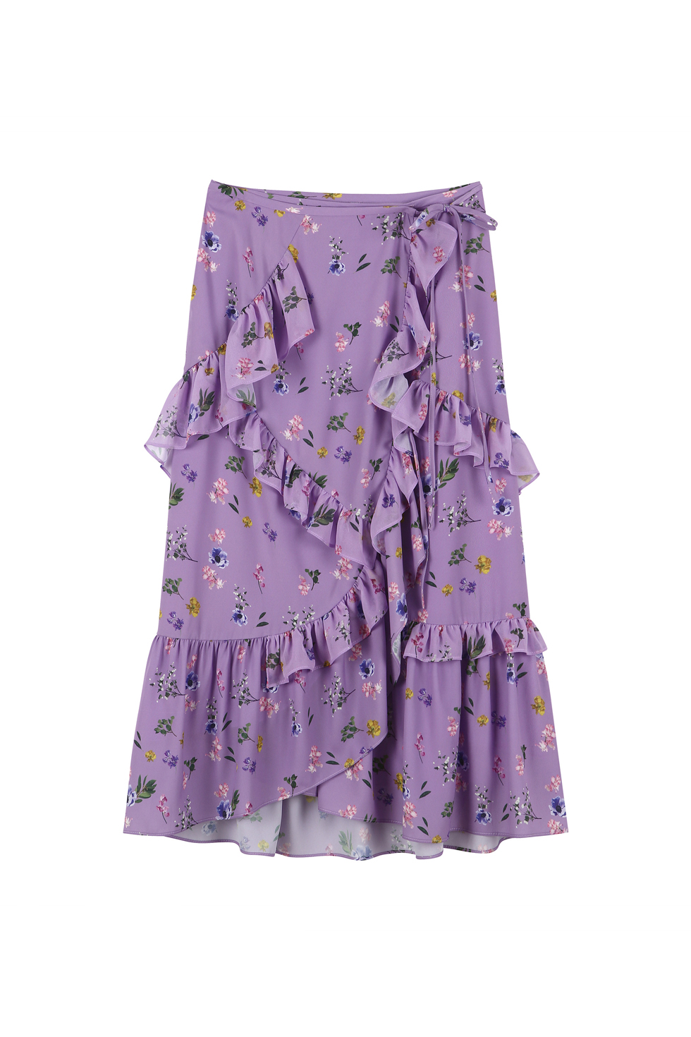 RUFFLE MIDI SKIRT - PURPLE