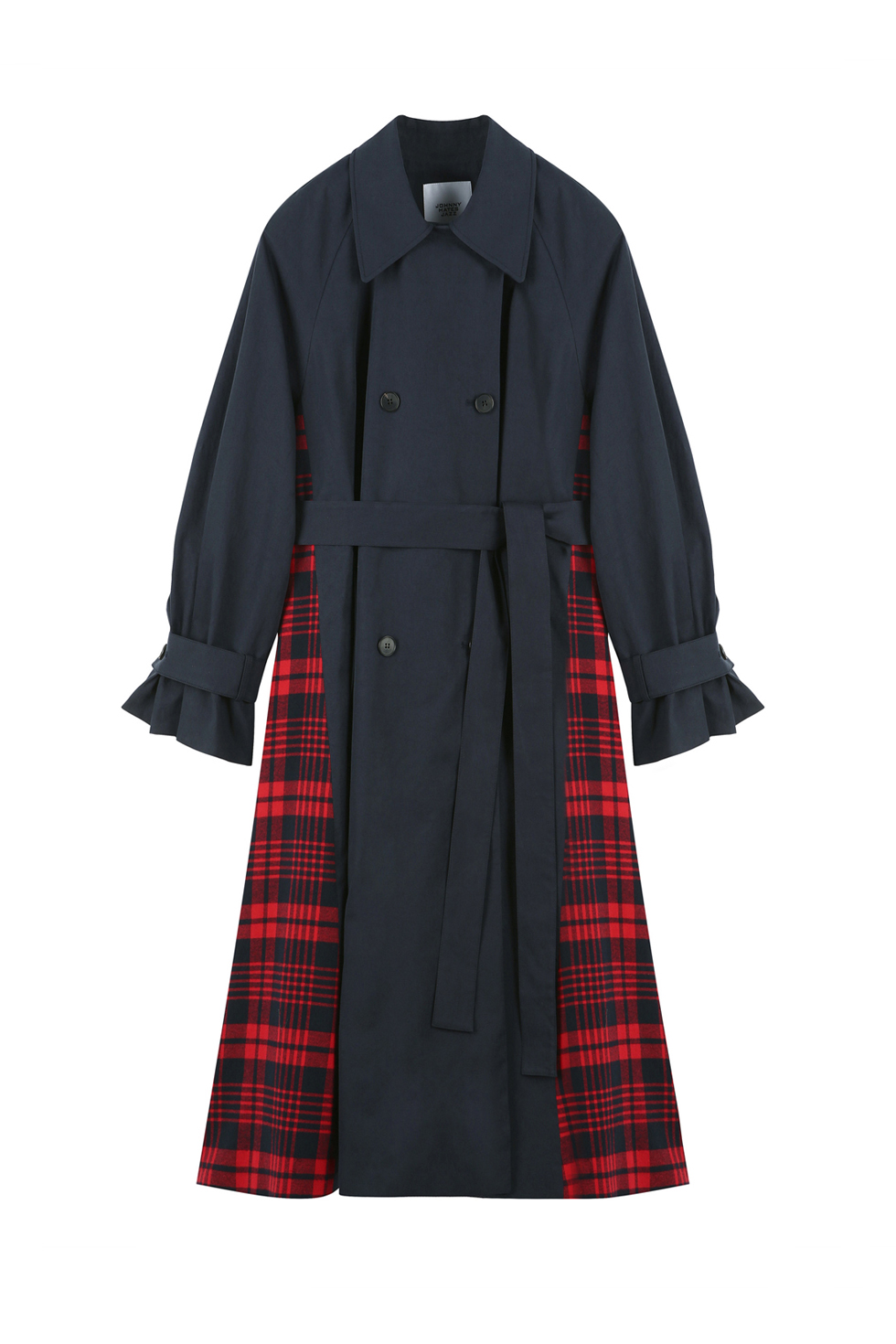 CHECK TRENCH COAT - NAVY