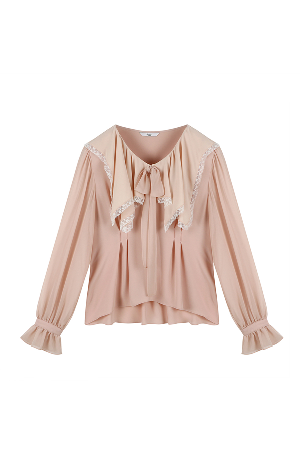 SQUARED RUFFLE BLOUSE - PINK