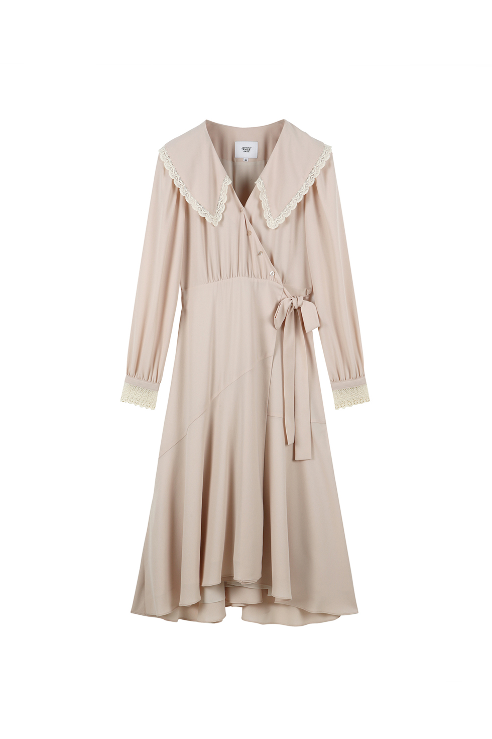 V-NECK WRAP DRESS - BEIGE