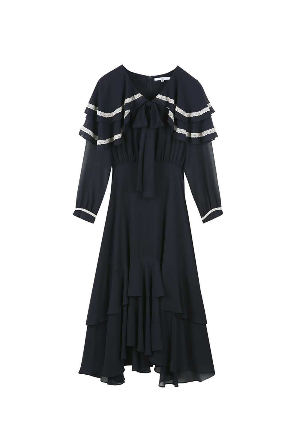 CAPE RUFFLE DRESS - NAVY