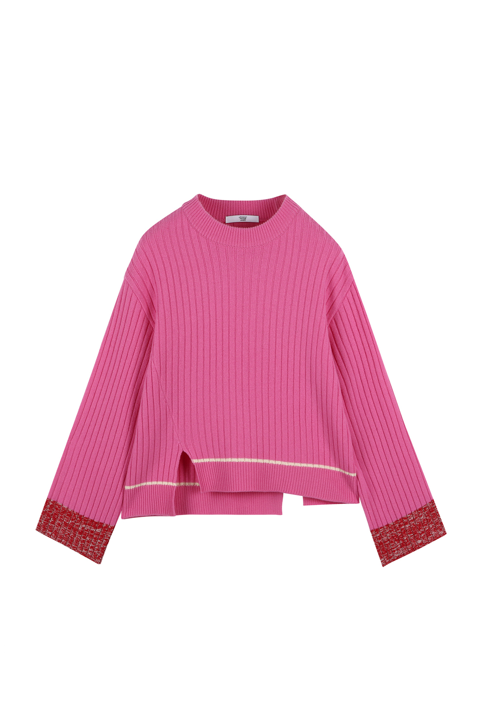 COLOR BLOCK KNIT PULLOVER - PINK