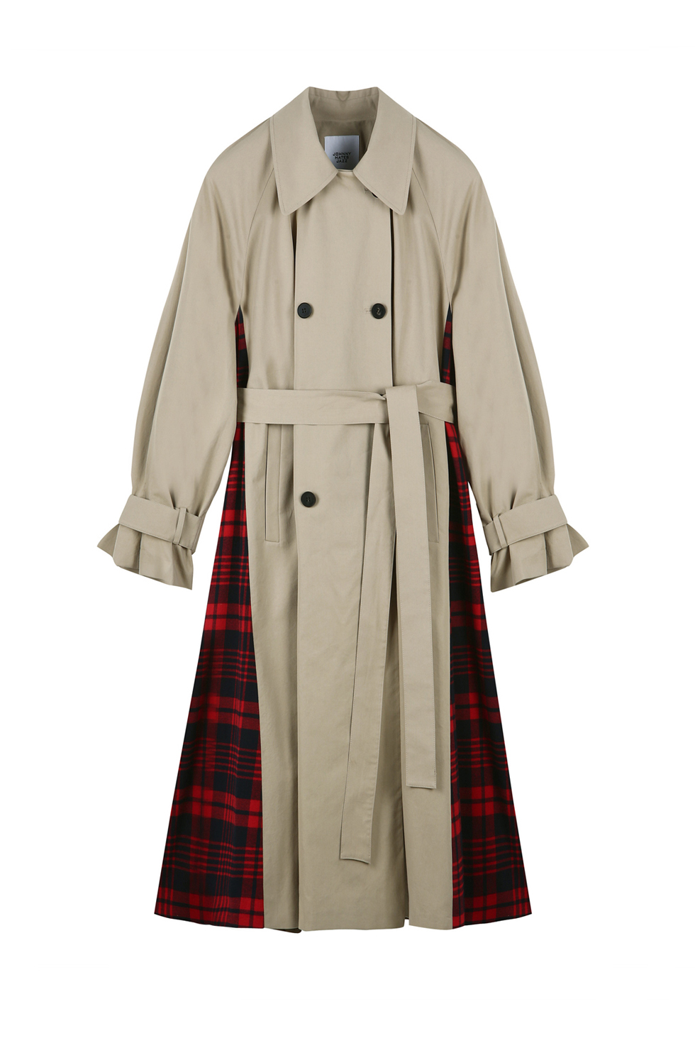CHECK TRENCH COAT - BEIGE