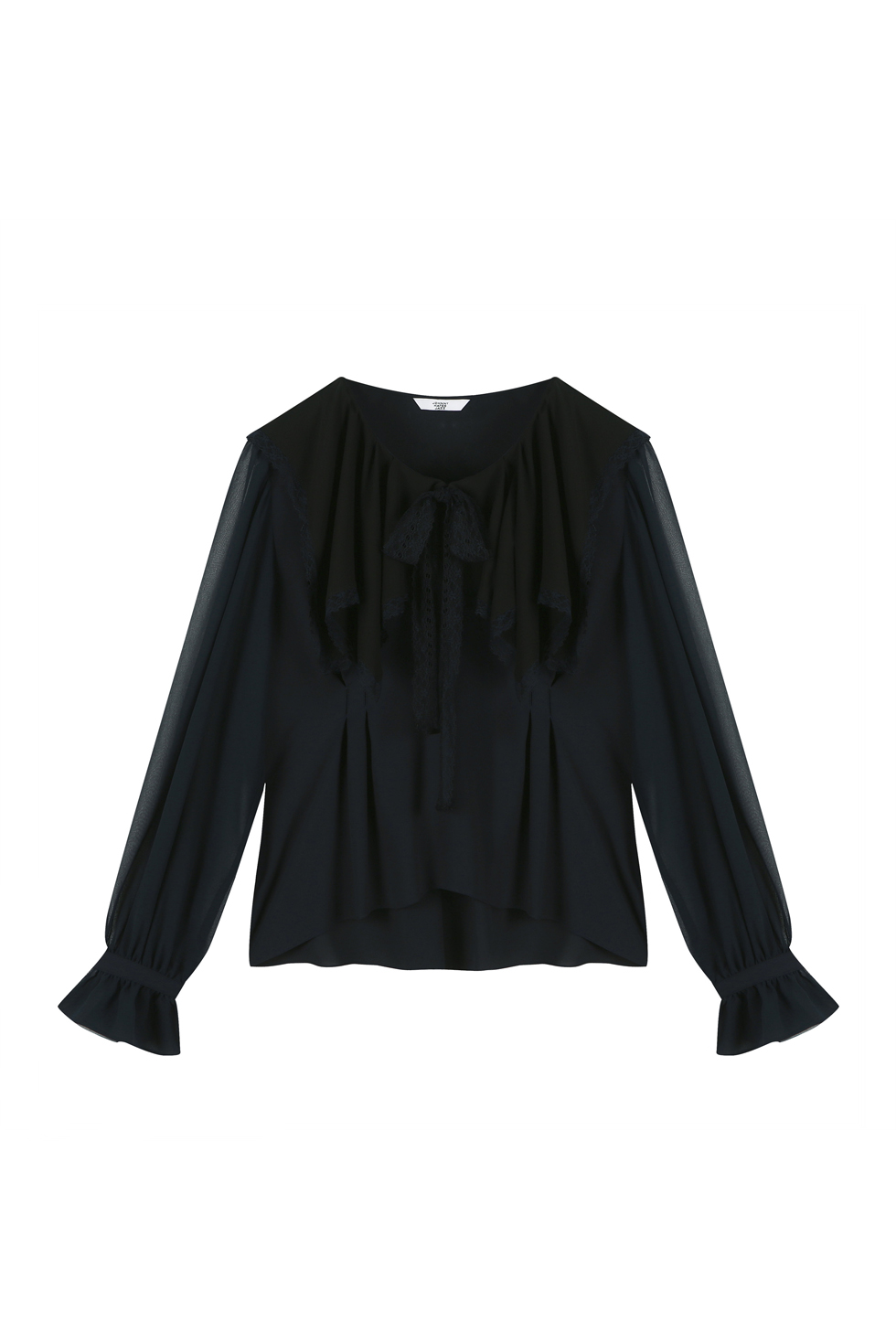 SQUARED RUFFLE BLOUSE - NAVY