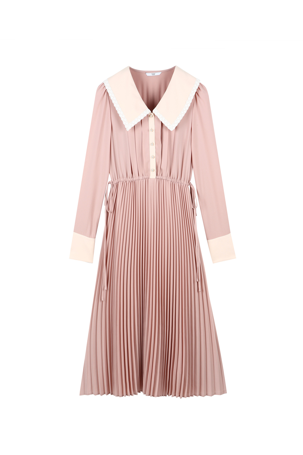 BIG COLLAR PLEATS DRESS - PINK