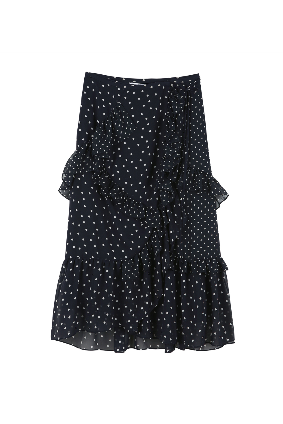 RUFFLE MIDI SKIRT - NAVY