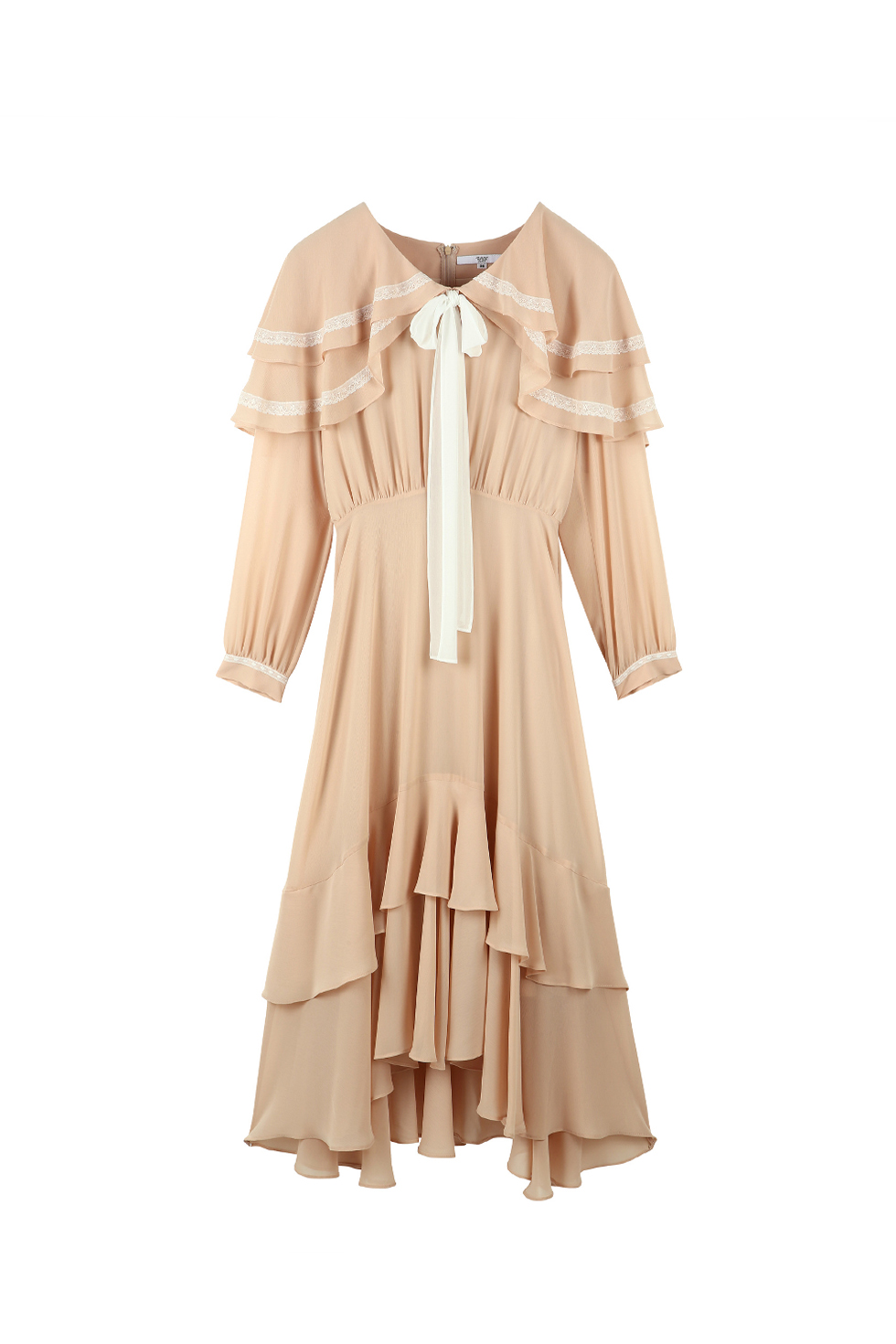 CAPE RUFFLE DRESS - BEIGE