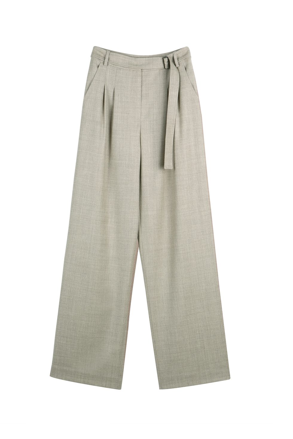BELTED WOOL PANTS - OATMEAL