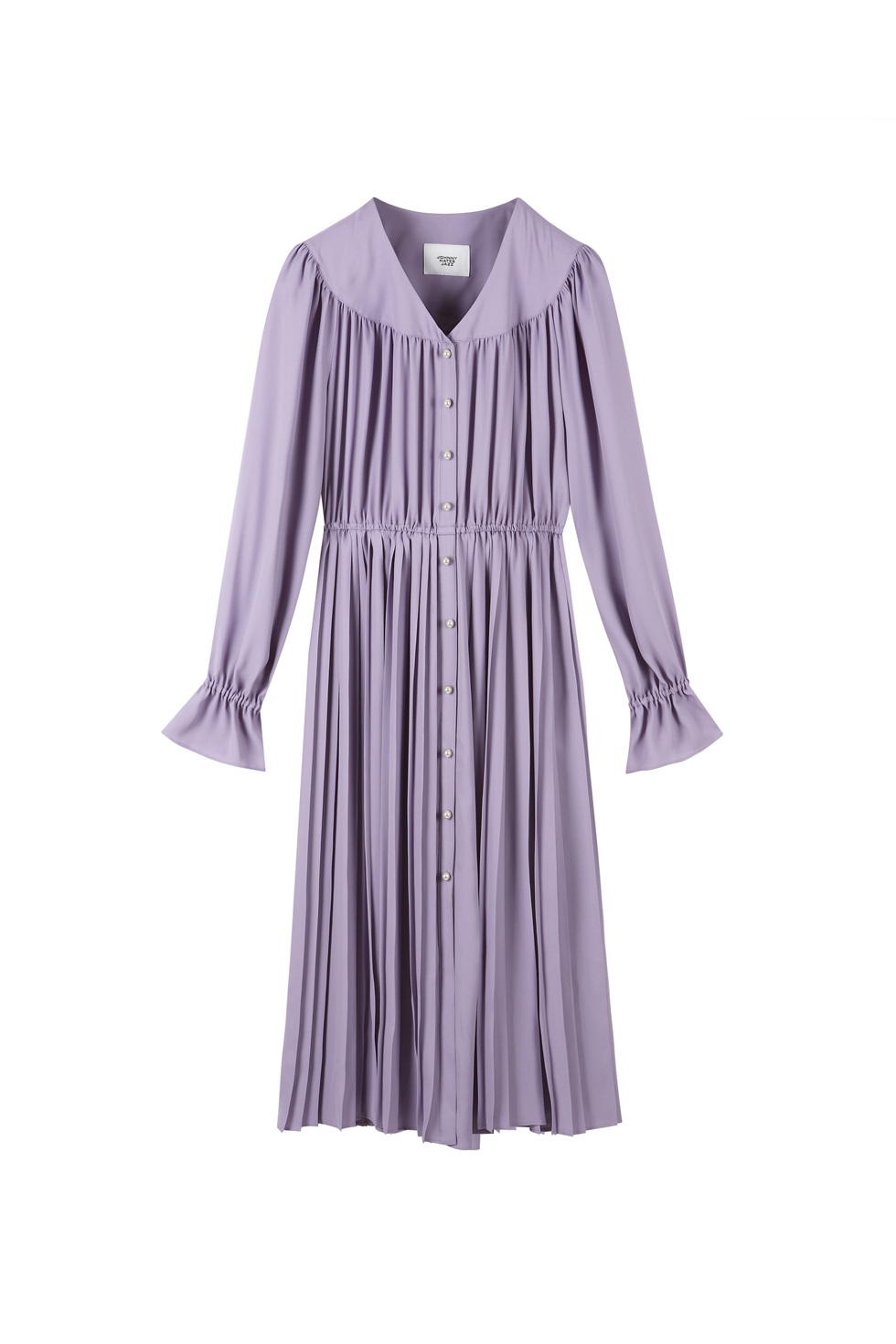 PEARL BUTTON PLEATS DRESS - PURPLE