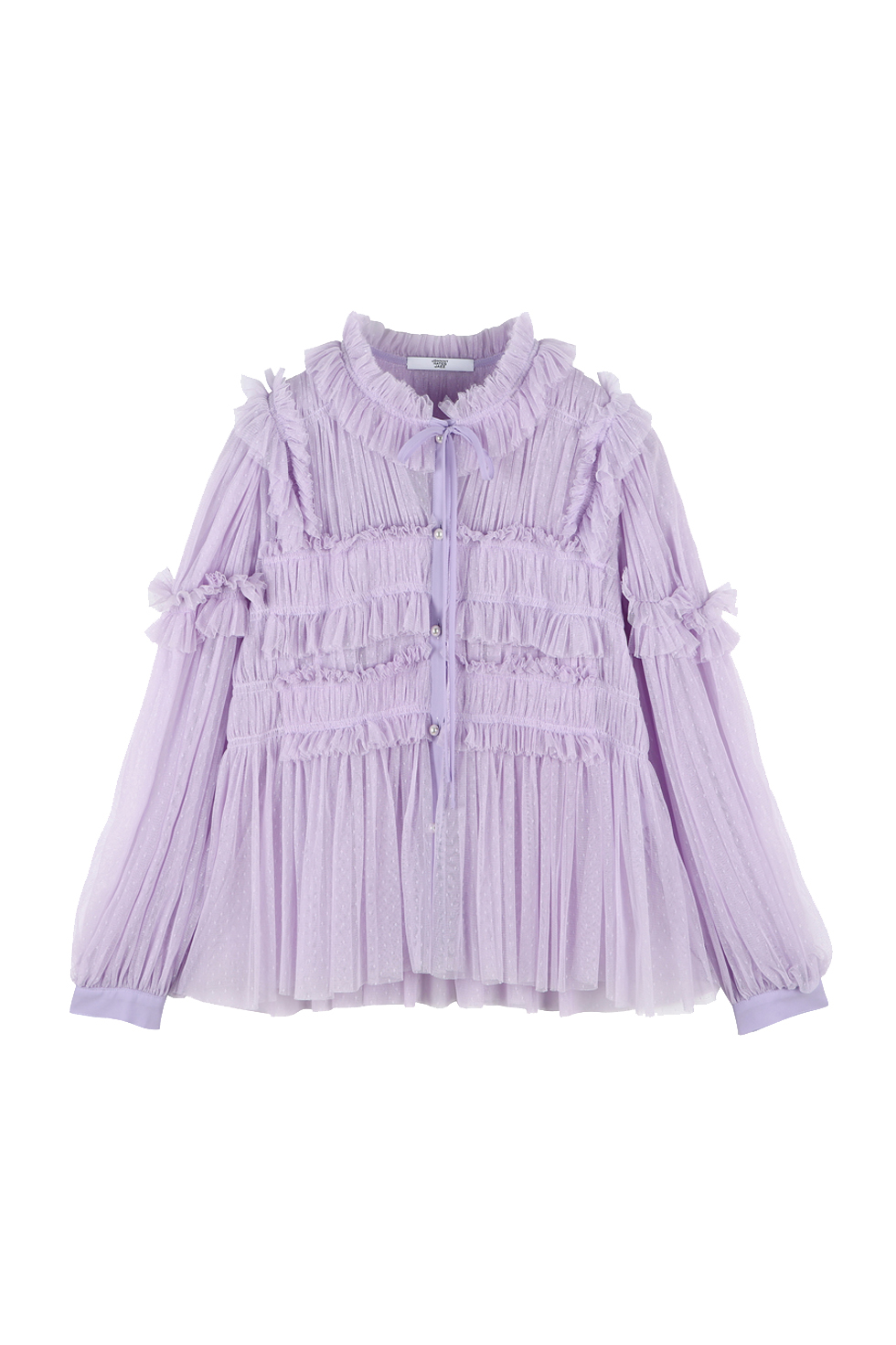 TULLE RUFFLE BLOUSE - PURPLE