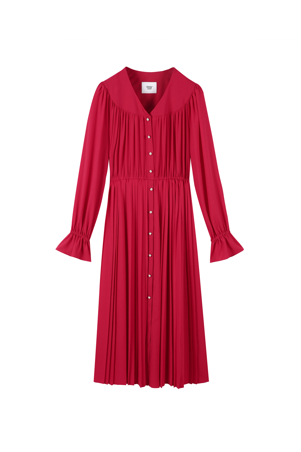 PEARL BUTTON PLEATS DRESS - RED