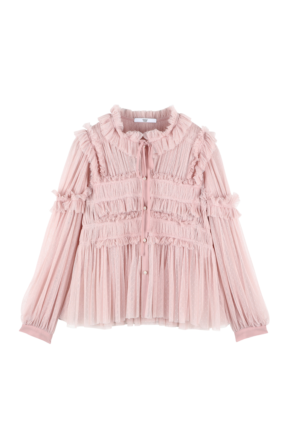 TULLE RUFFLE BLOUSE - PINK