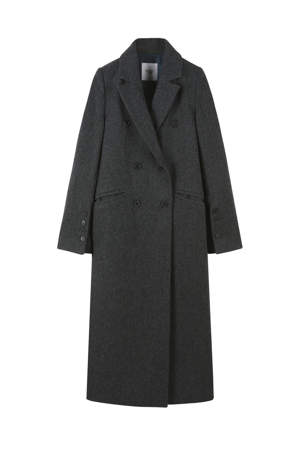 TAILORED WOOL LONG COAT - GREY