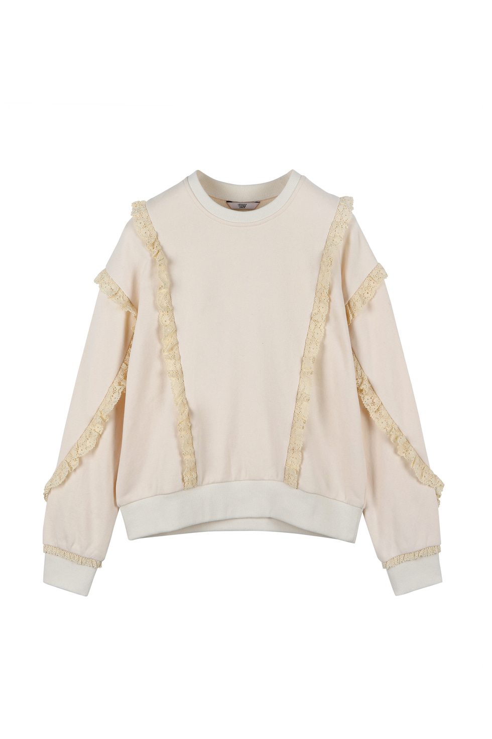 LACE JERSEY PULLOVER - IVORY