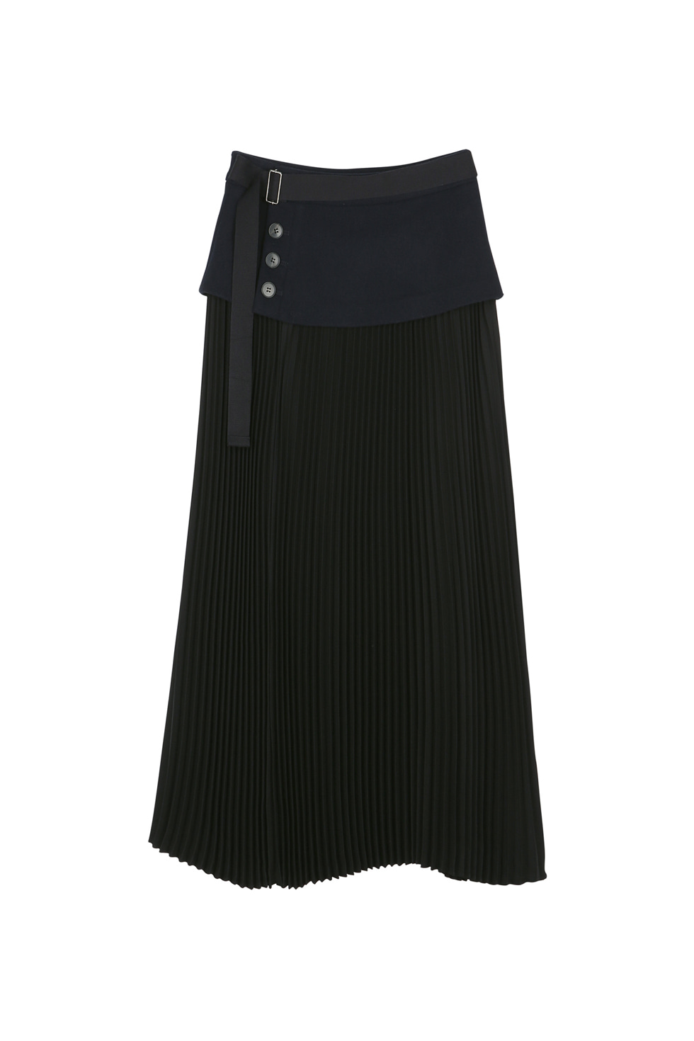 WOOL FLAP PLEATS SKIRT