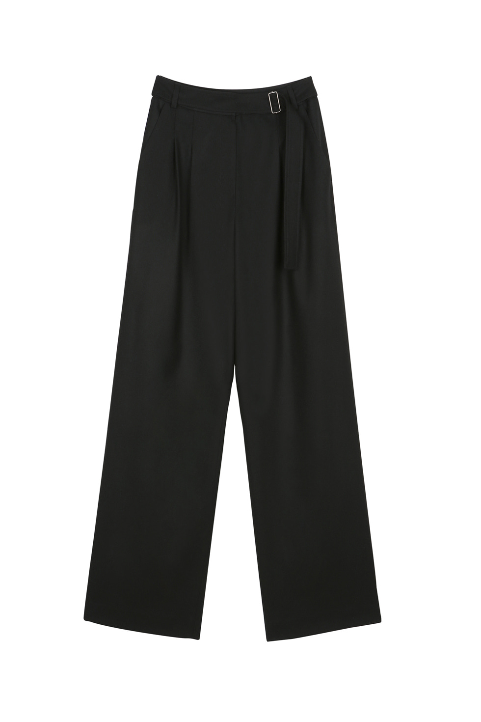 BELTED WOOL PANTS - BLACK