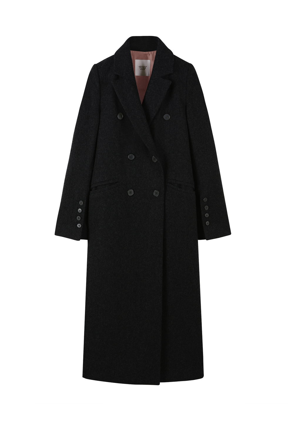 TAILORED WOOL LONG COAT - BLACK