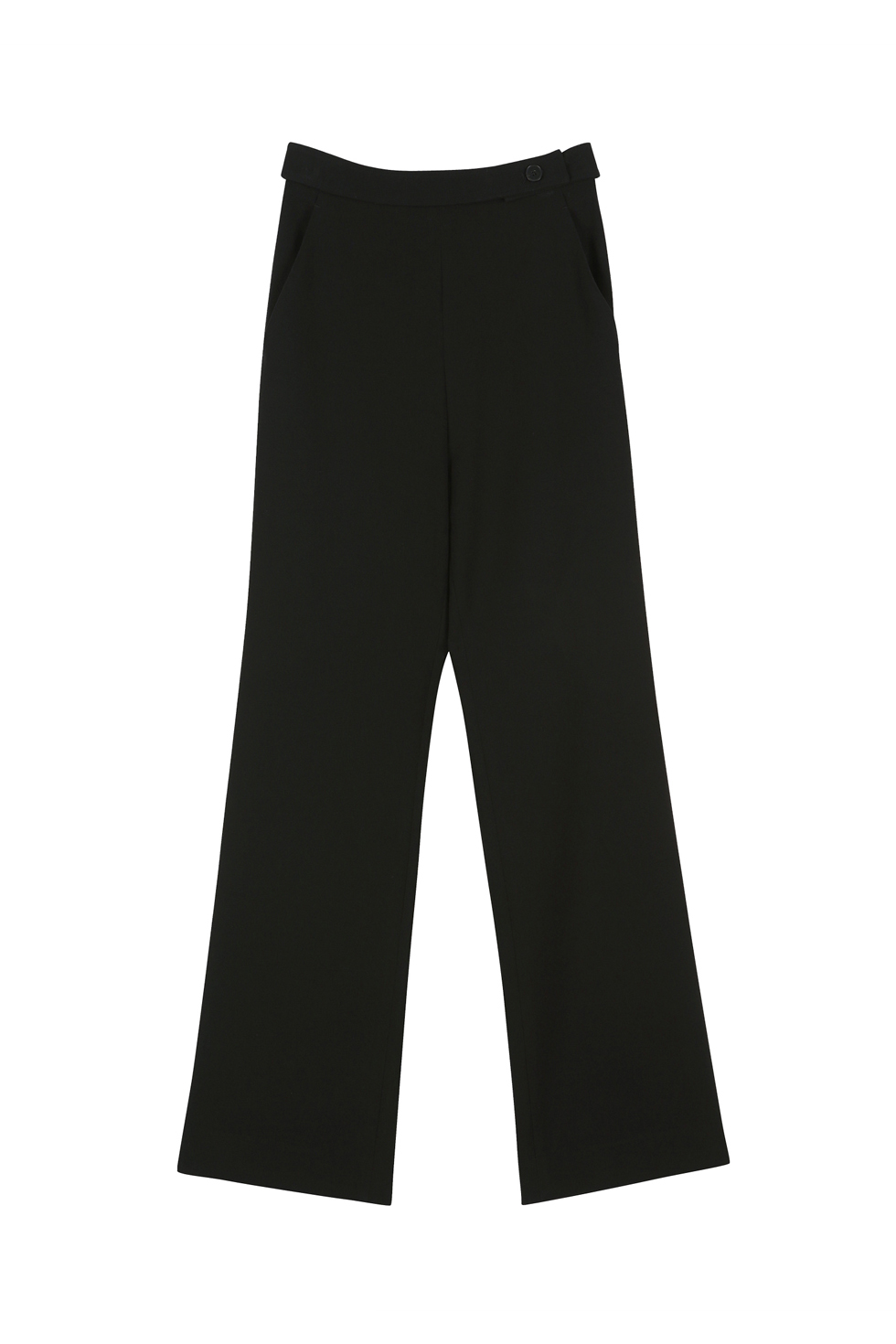 BELTED STRAIGHT PANTS - BLACK