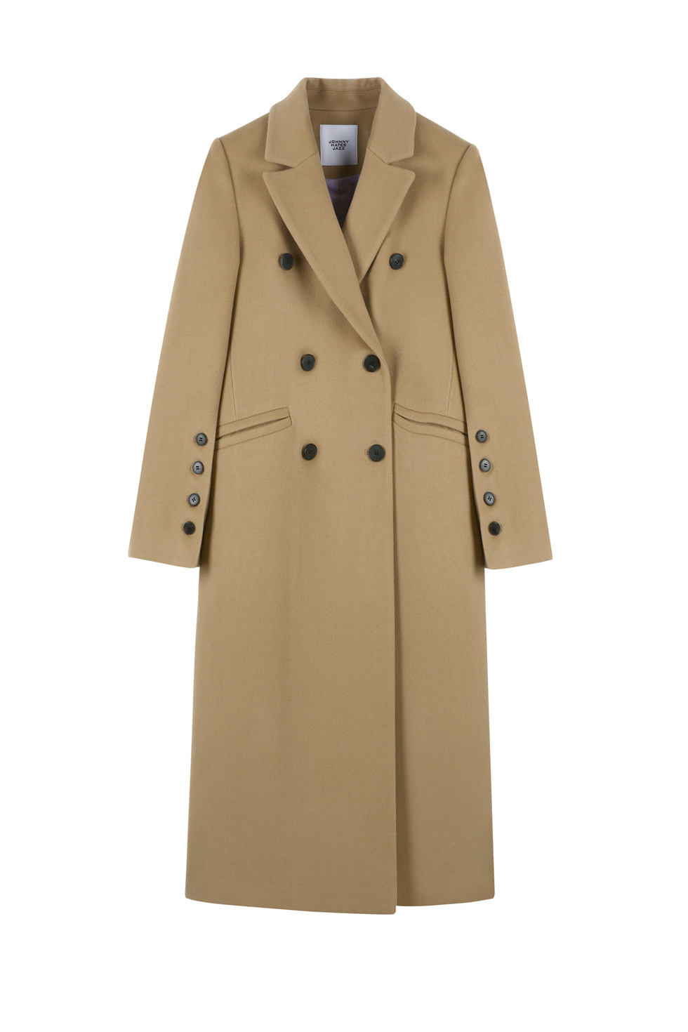 TAILORED WOOL LONG COAT - CAMEL