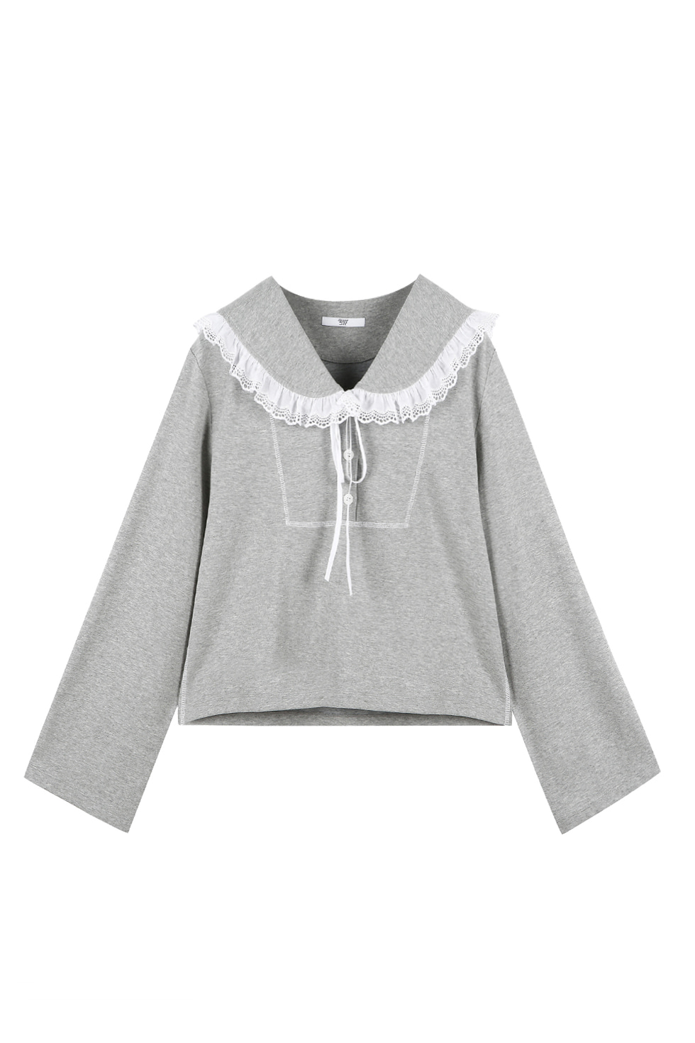 COTTON RUFFLE JERSEY TOP - GREY