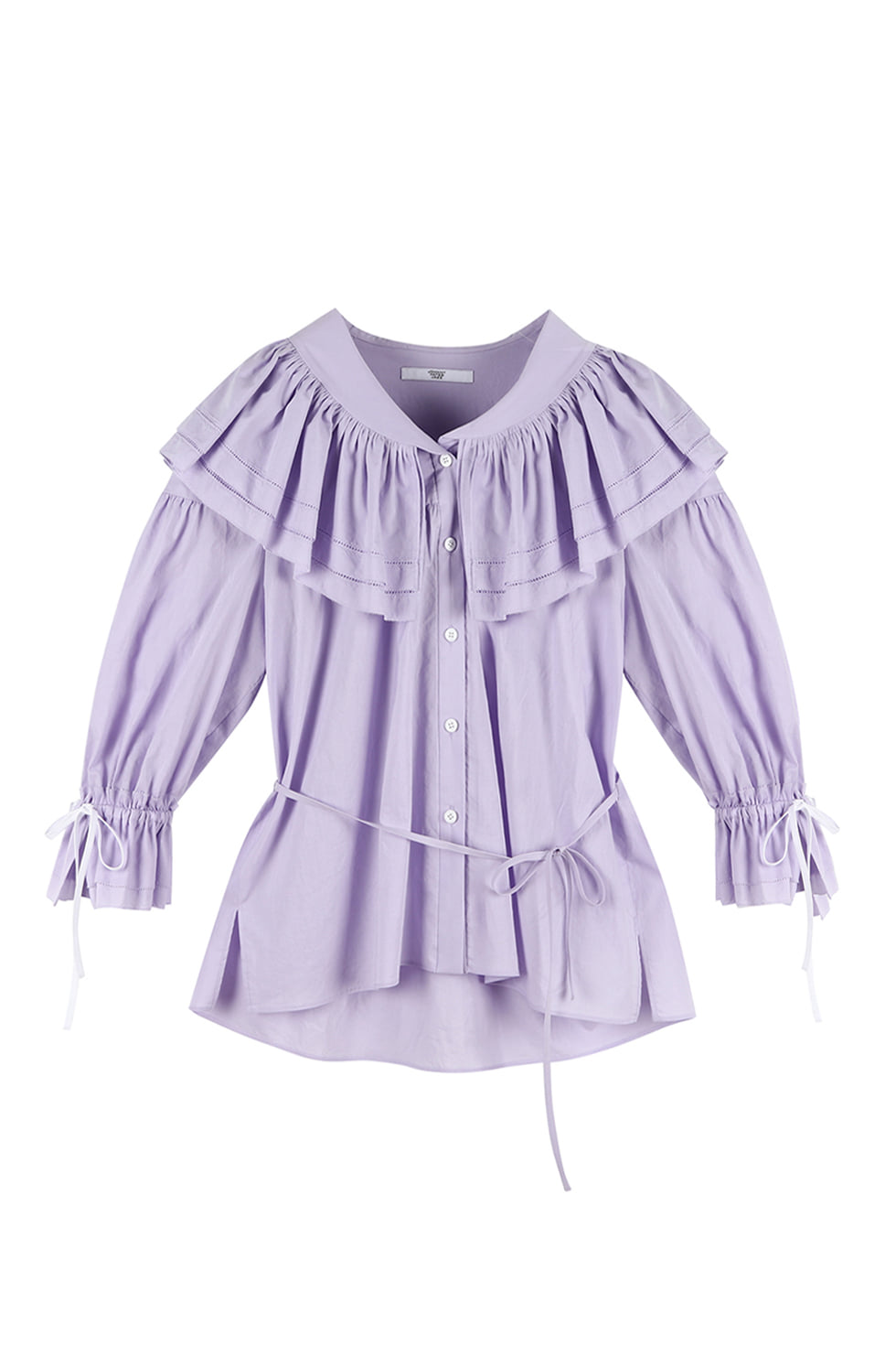 COTTON RUFFLE BLOUSE - PURPLE