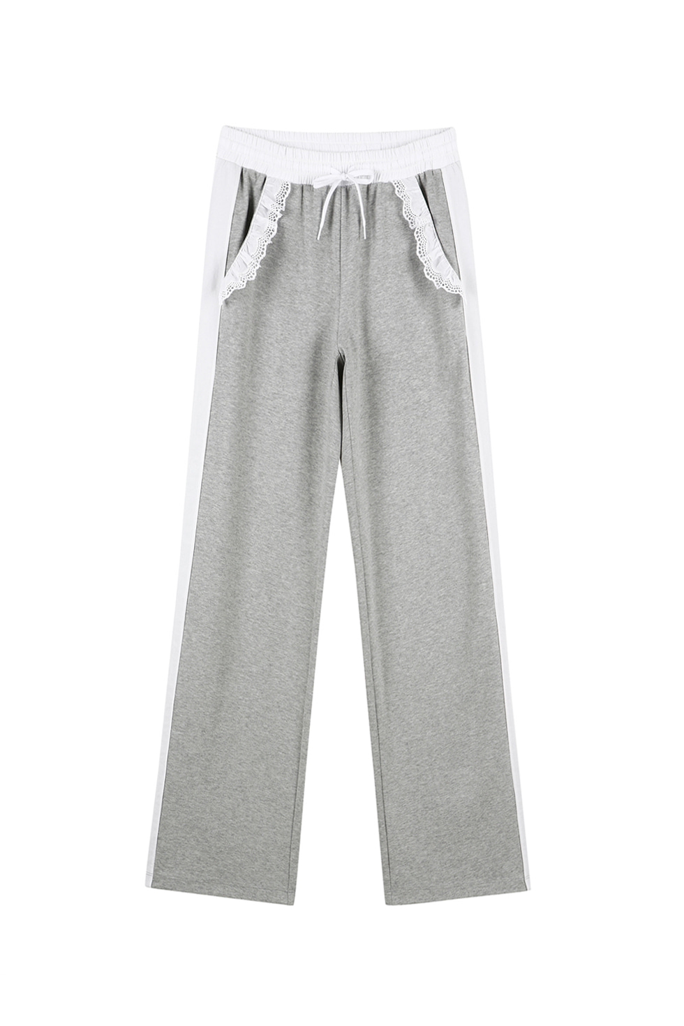 COTTON RUFFLE JERSEY PANTS - GREY