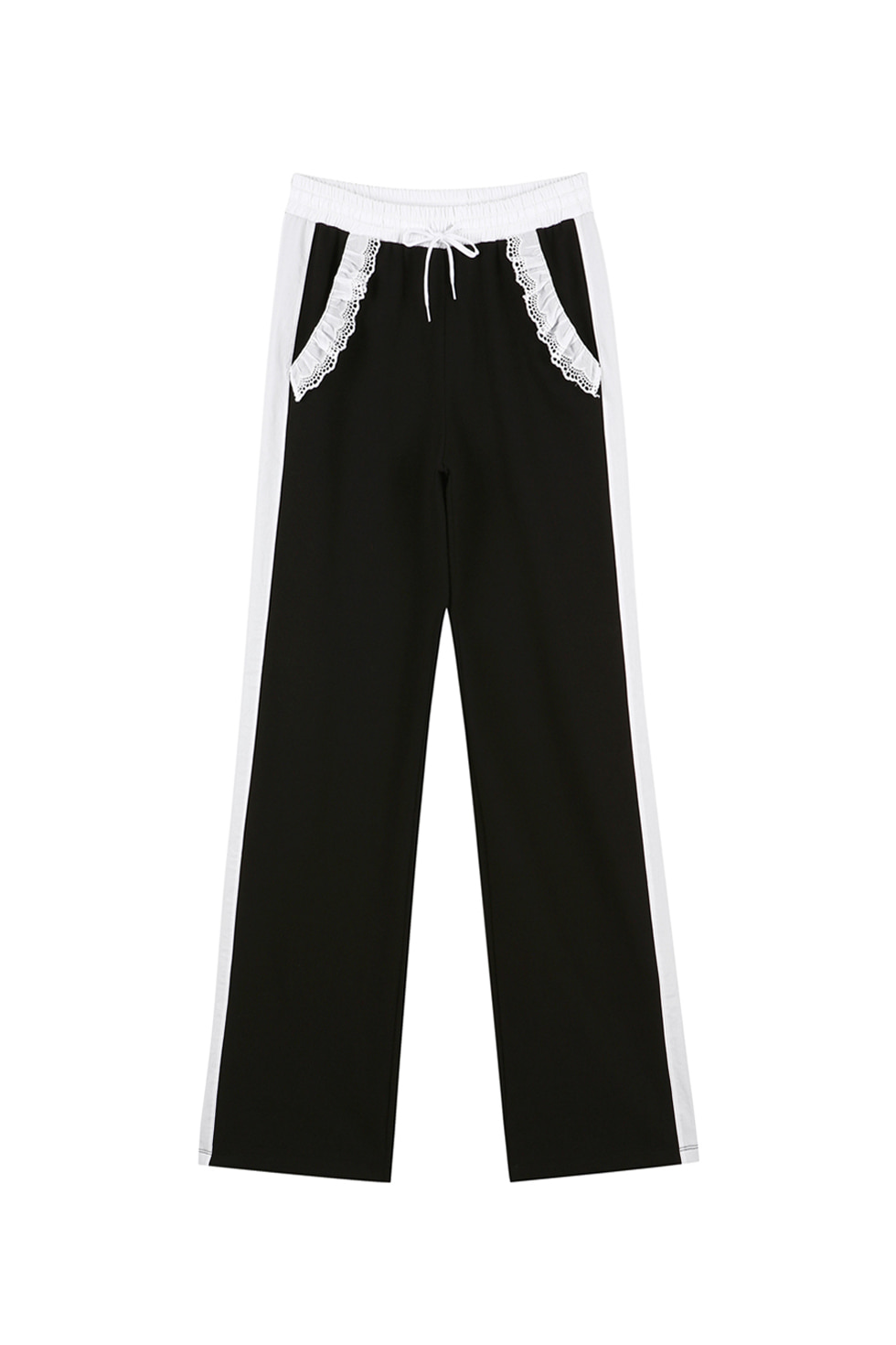 COTTON RUFFLE JERSEY PANTS - BLACK