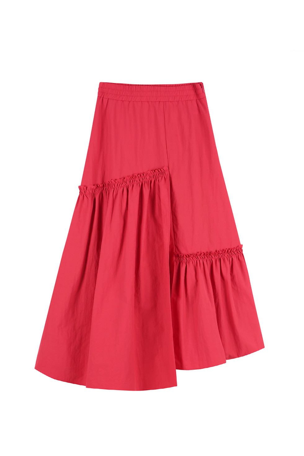 UNBALANCED RUFFLE SKIRT - RED