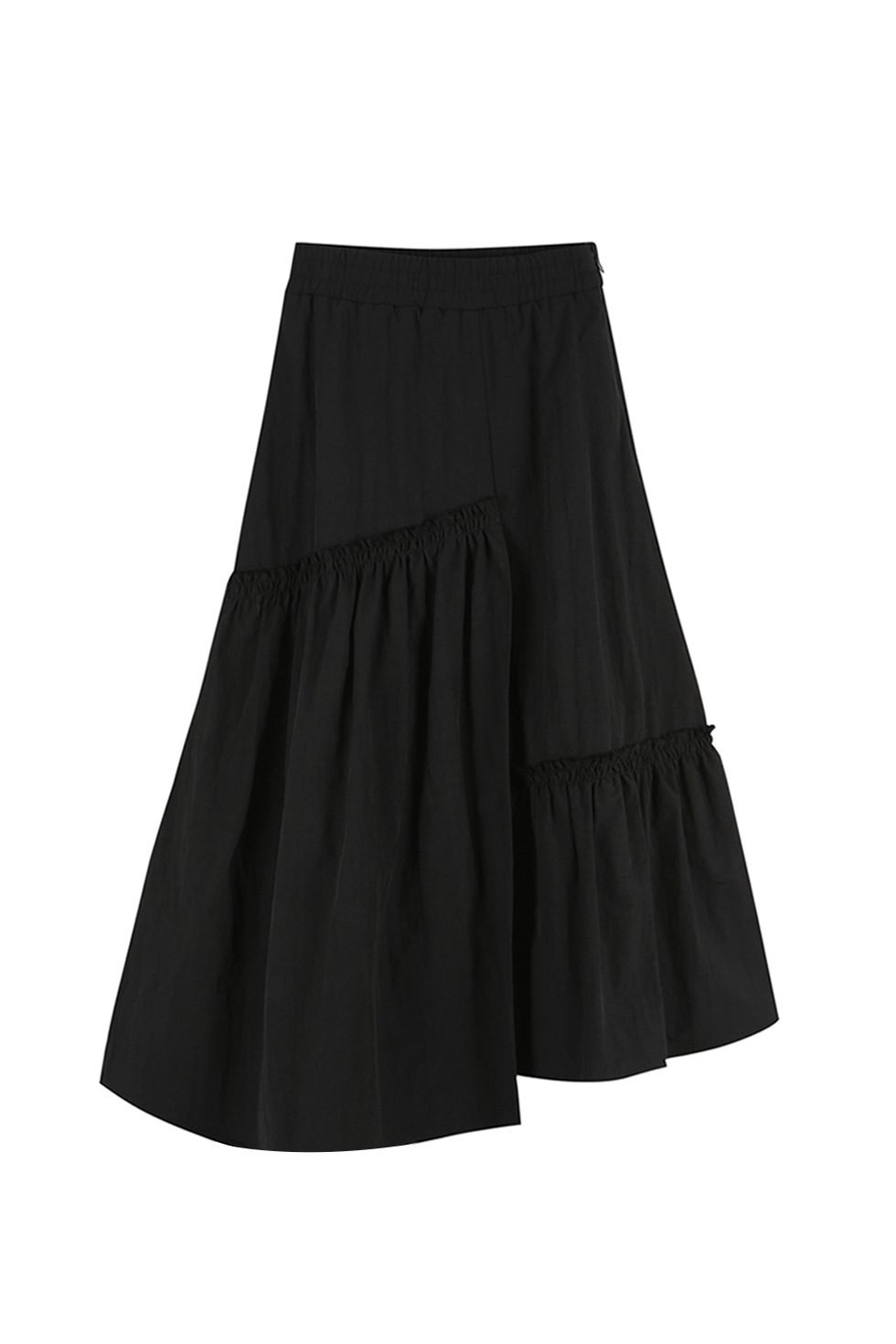 UNBALANCED RUFFLE SKIRT - BLACK