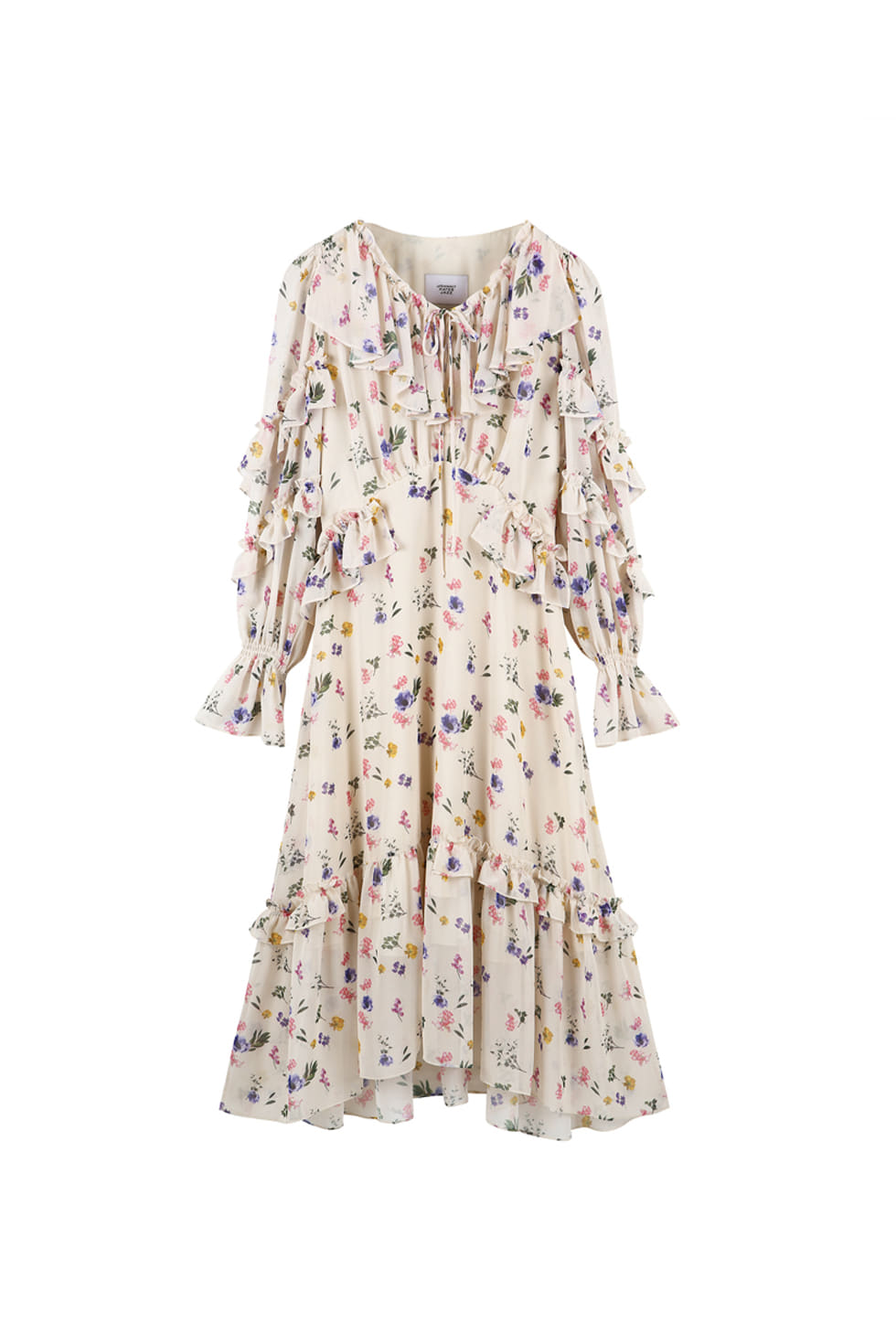 FLORAL RUFFLE DRESS - IVORY