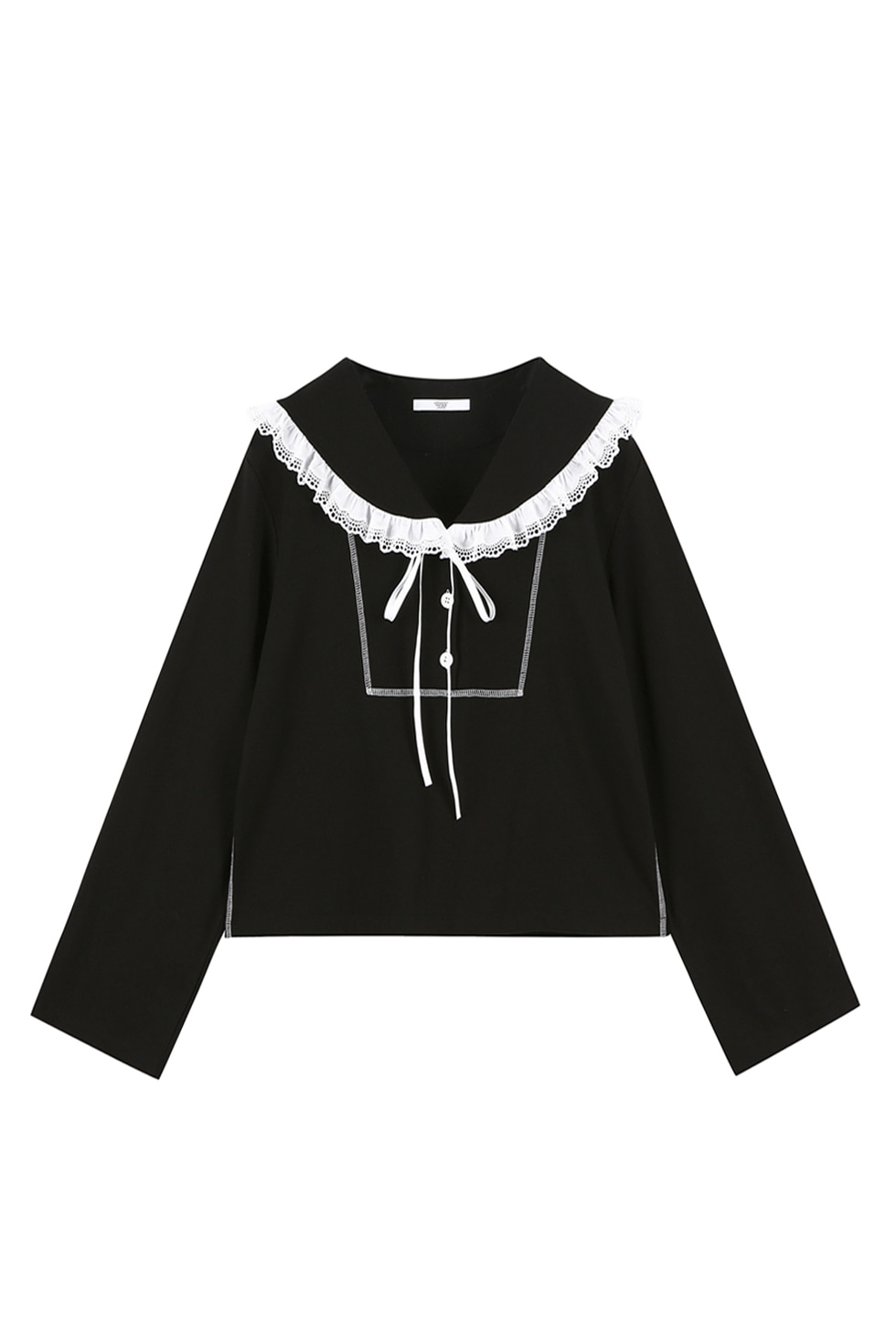 COTTON RUFFLE JERSEY TOP - BLACK