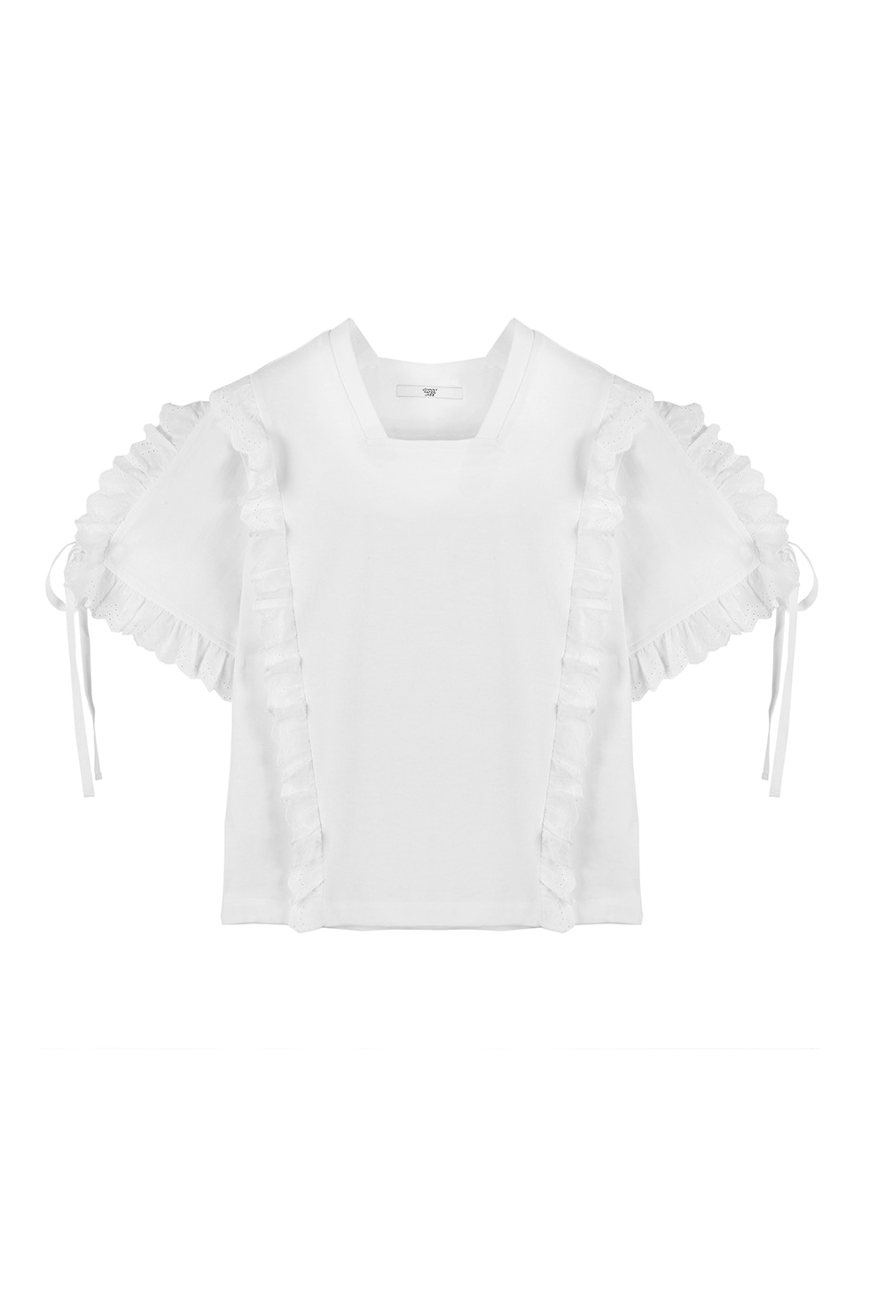 COTTON RUFFLE T-SHIRTS - WHITE