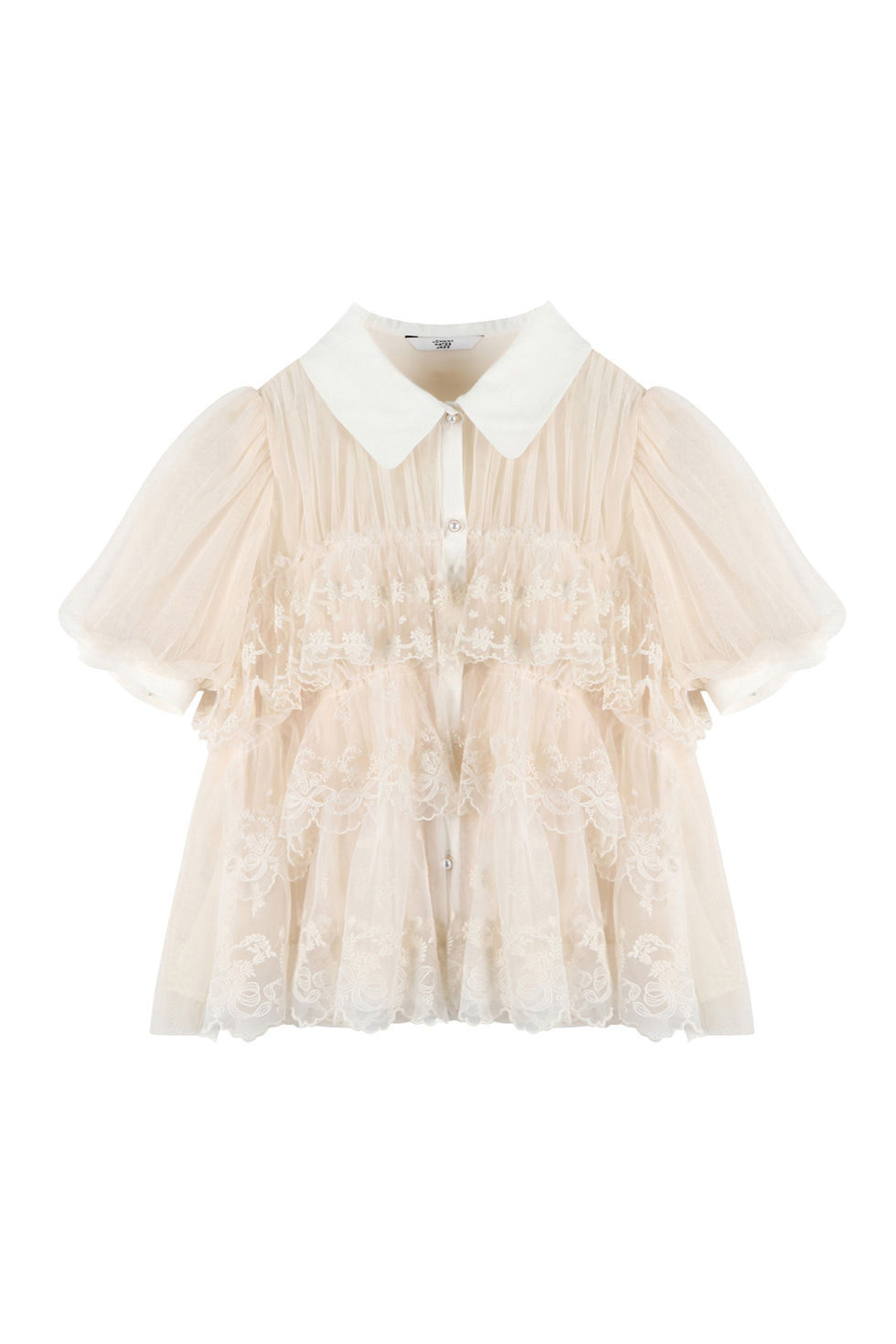 TULLED LACE BLOUSE - IVORY