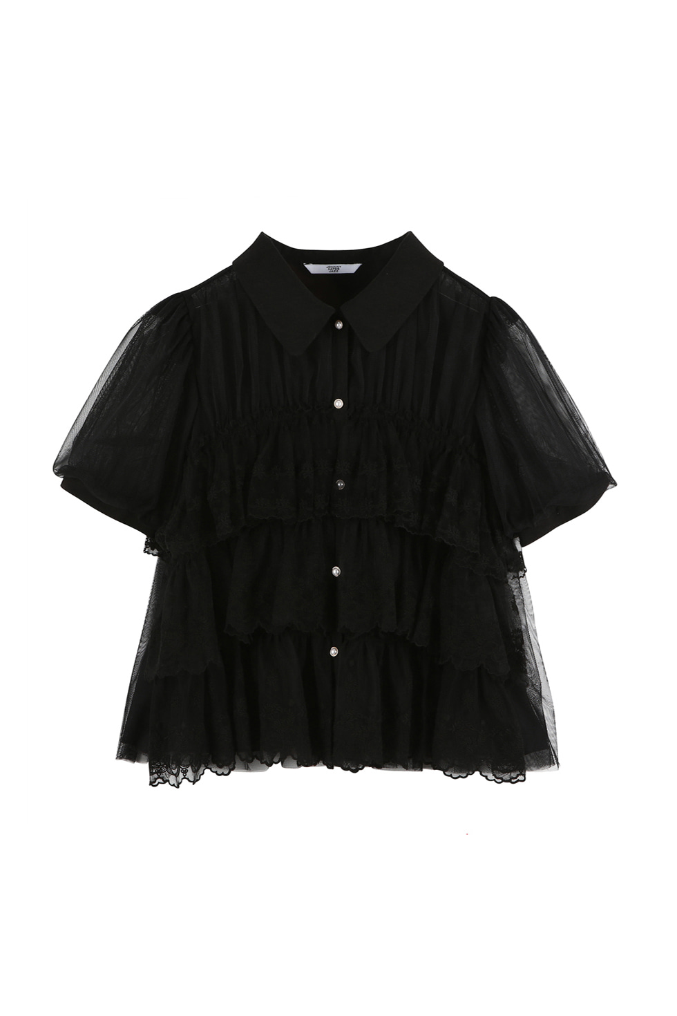 TULLED LACE BLOUSE - BLACK