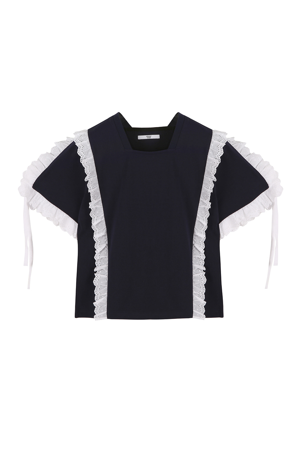 COTTON RUFFLE T-SHIRTS - NAVY