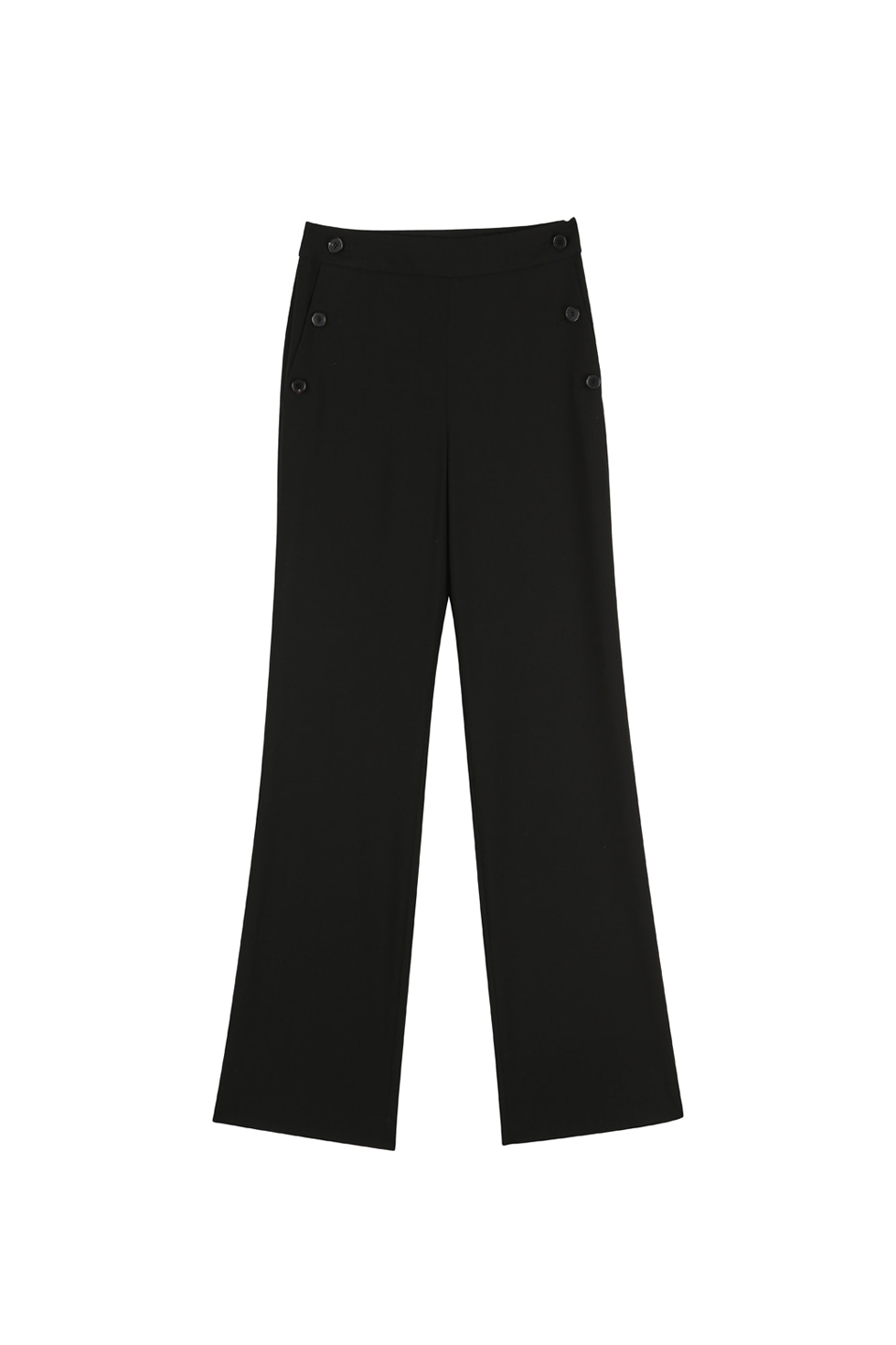 BUTTON STRAIGHT PANTS - BLACK