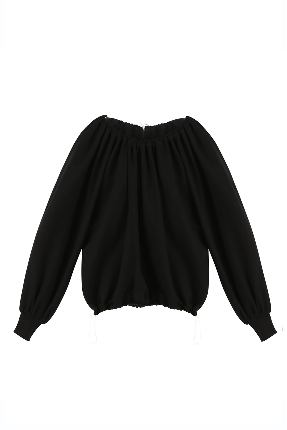 SHIRRING JERSEY PULLOVER - BLACK