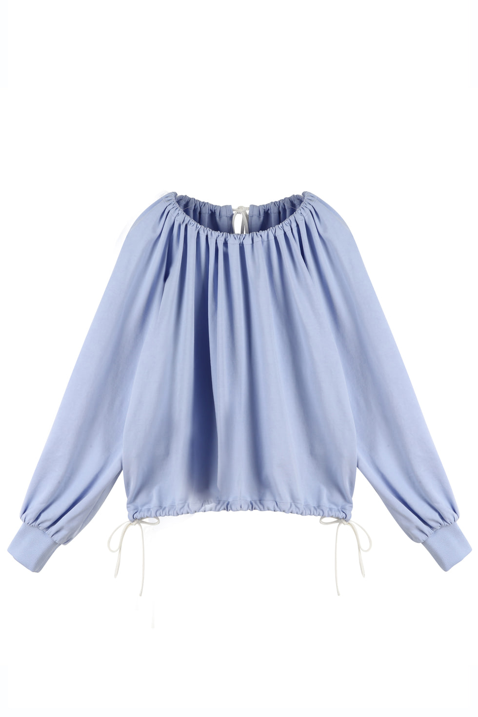SHIRRING JERSEY PULLOVER - BLUE