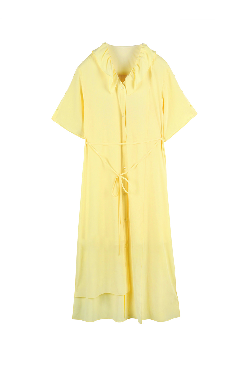 RUFFLE COLLAR DRESS - YELLOW