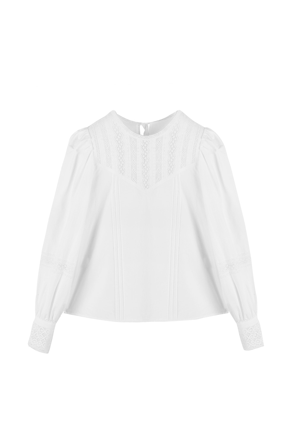 LACE TAPE PUFF BLOUSE - WHITE