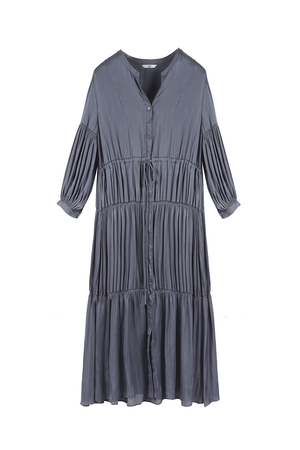 SHIRRING LONG DRESS - BLUE