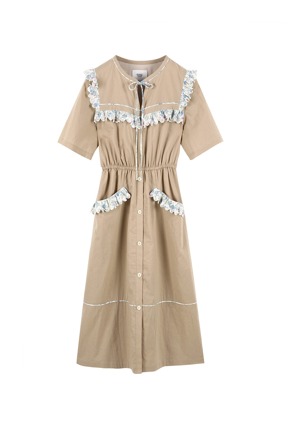 FLORAL COTTON DRESS - BEIGE